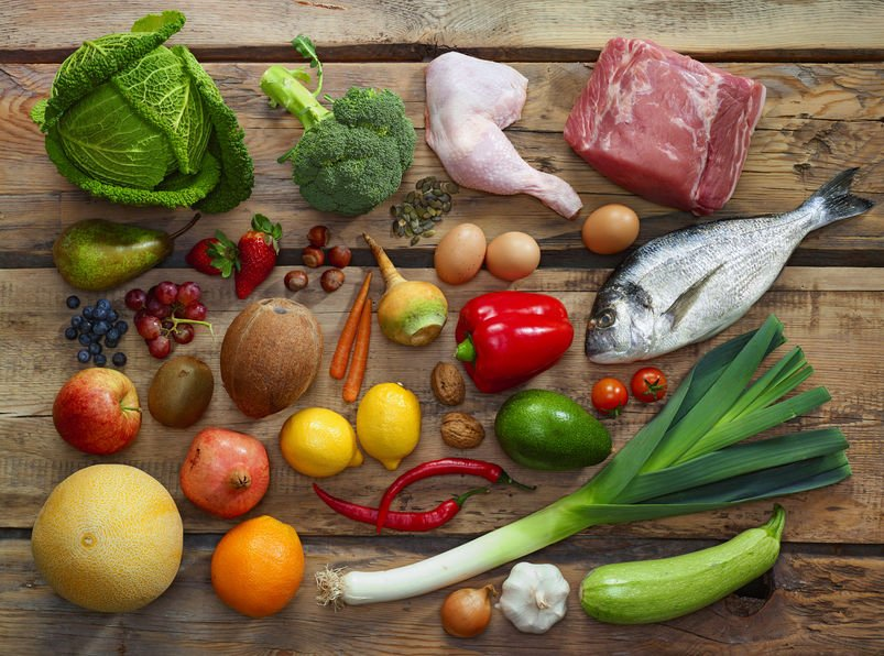 various paleo diet foods on wooden table, top view