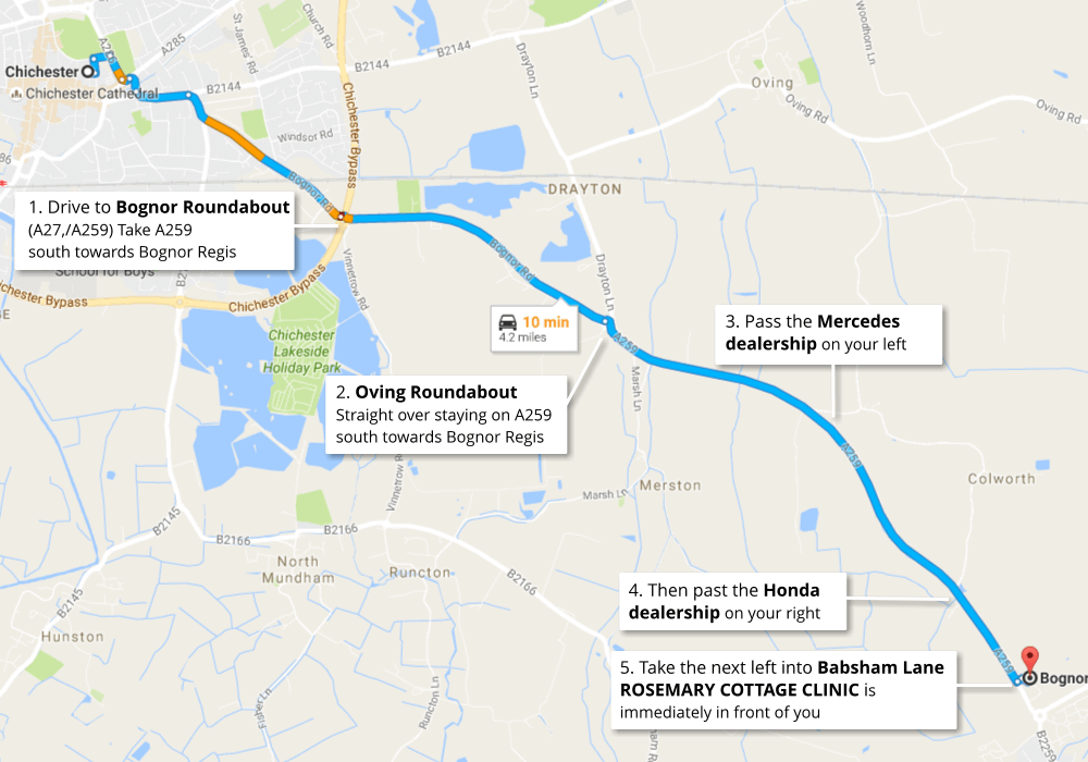 Clinic Route Map Travelling South from Chichester